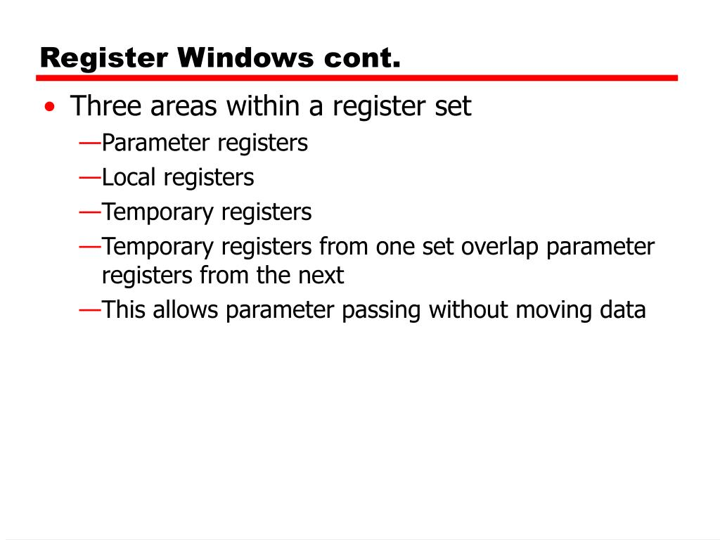 Register Windows cont.