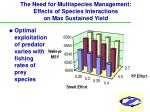 the need for multispecies management effects of species interactions on max sustained yield14