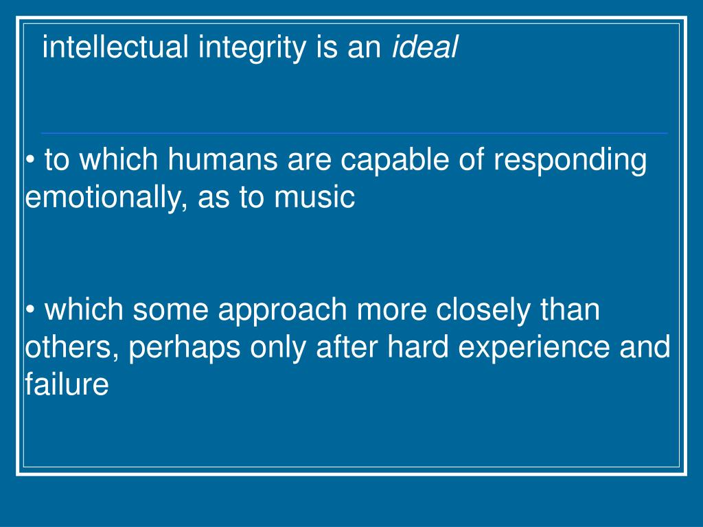 intellectual integrity is an