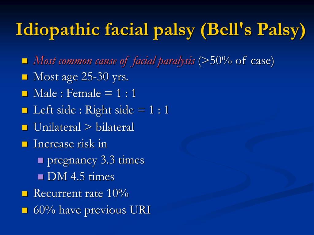Idiopathic facial palsy (Bell's Palsy)