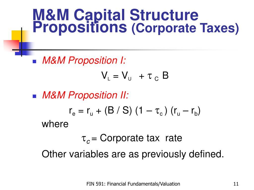 M&M Capital Structure Propositions