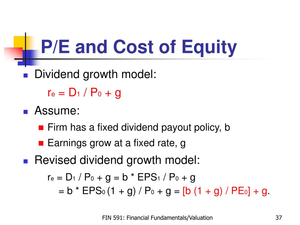 P/E and Cost of Equity