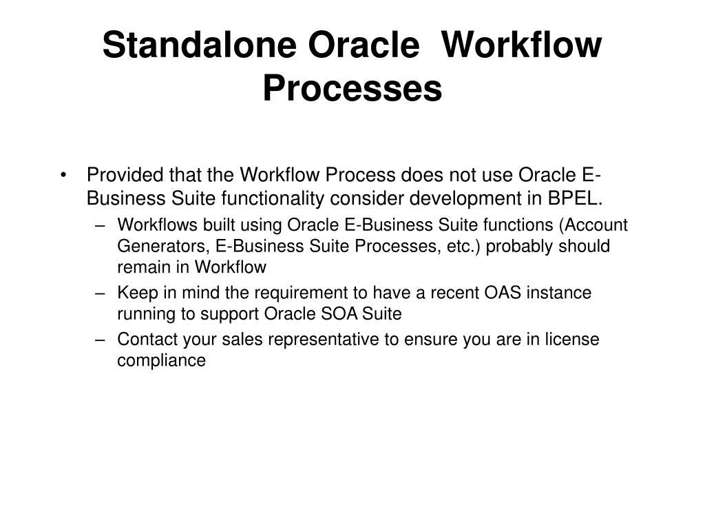 Standalone Oracle  Workflow Processes