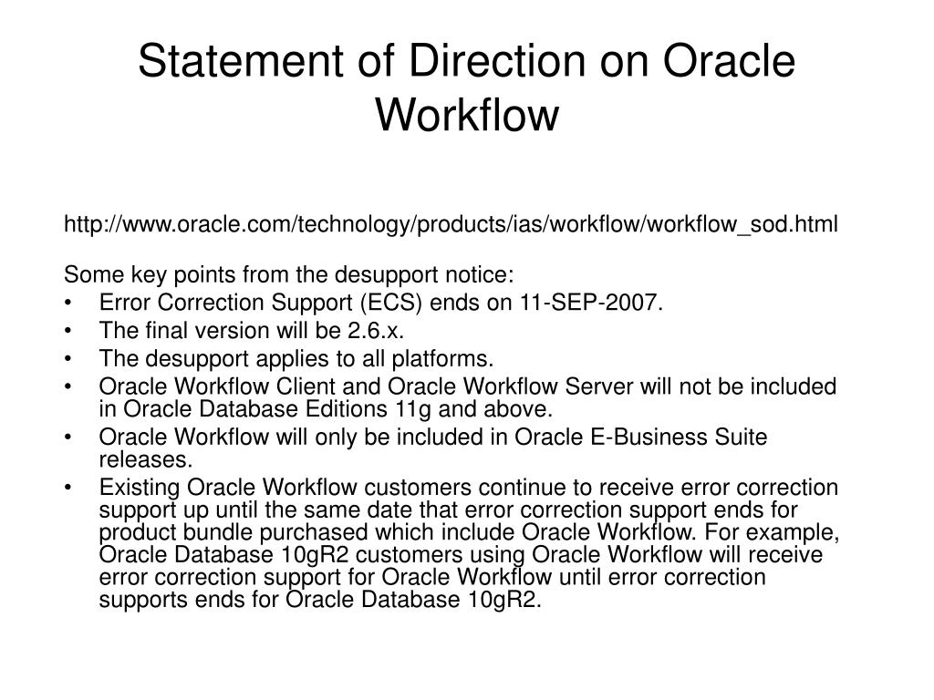 Statement of Direction on Oracle Workflow