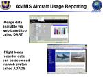asimis aircraft usage reporting