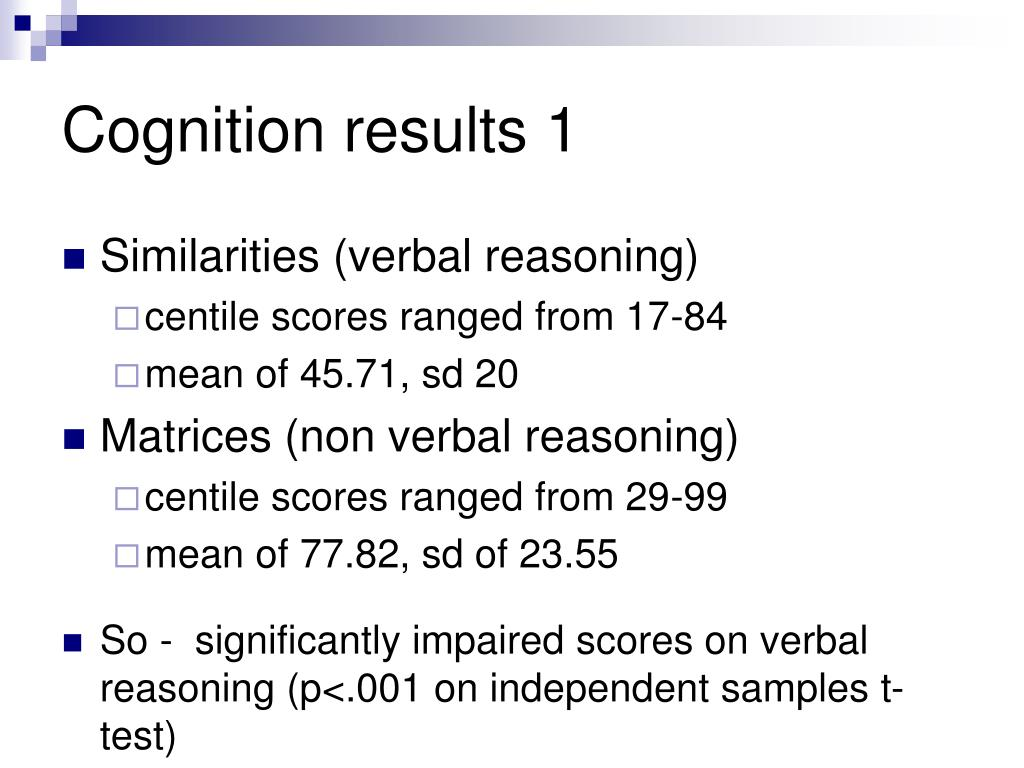Cognition results 1