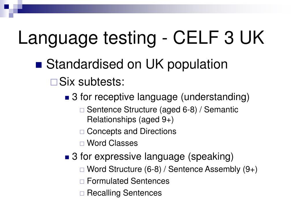 Language testing - CELF 3 UK