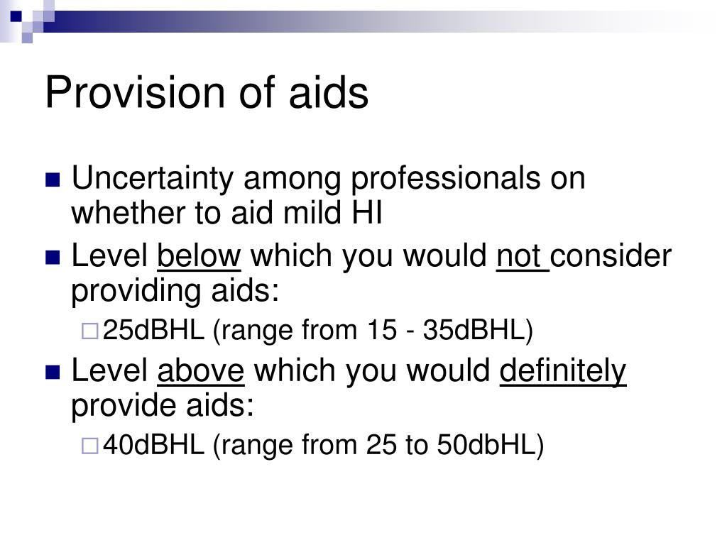 Provision of aids