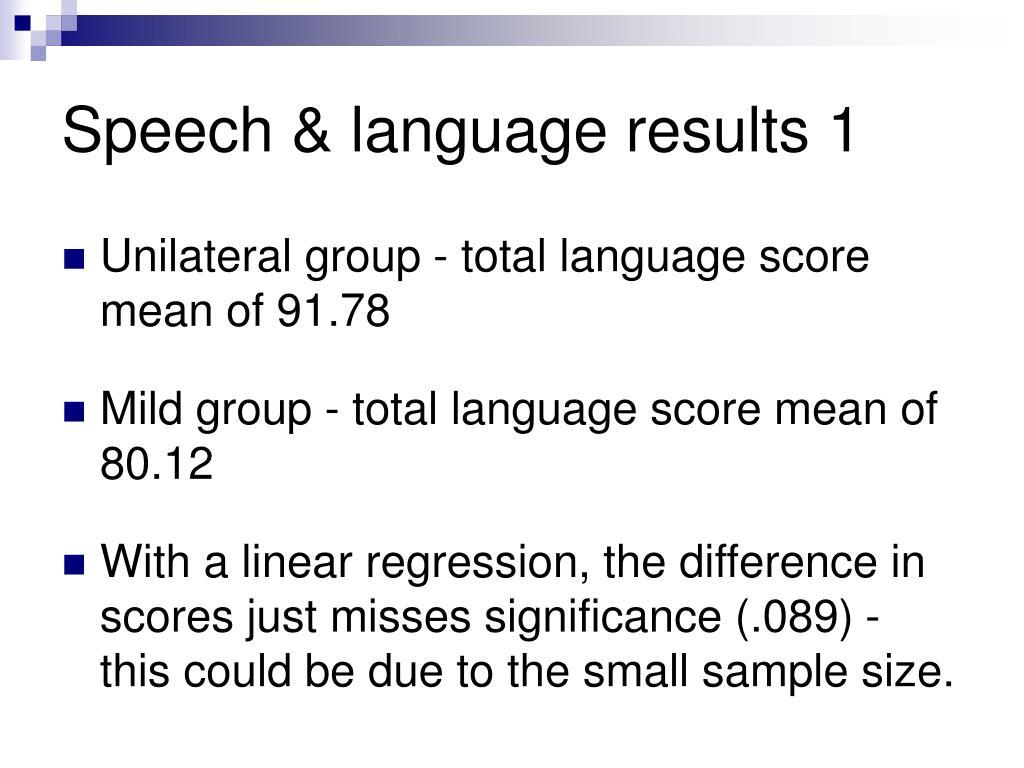 Speech & language results 1
