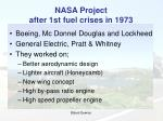 nasa project after 1st fuel crises in 1973