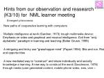 hints from our observation and reasearch k3 10 for nml learner meeting