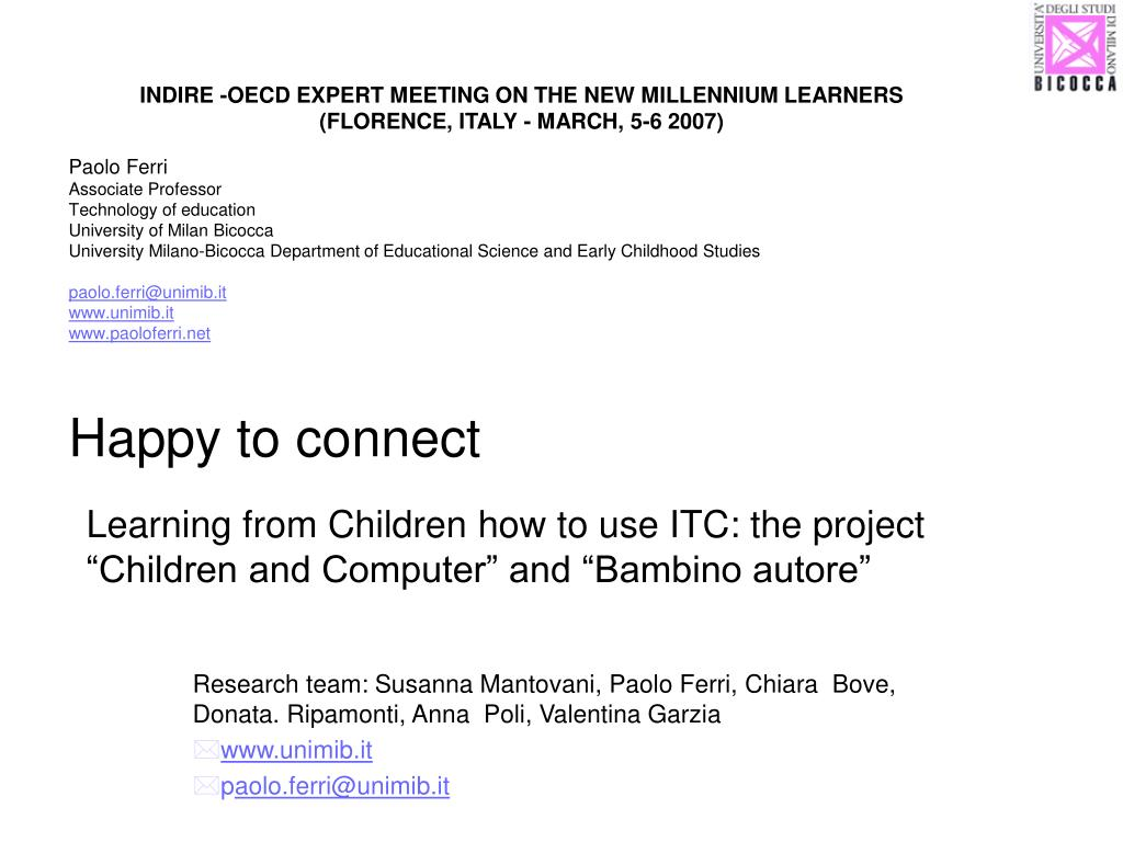 learning from children how to use itc the project children and computer and bambino autore l.