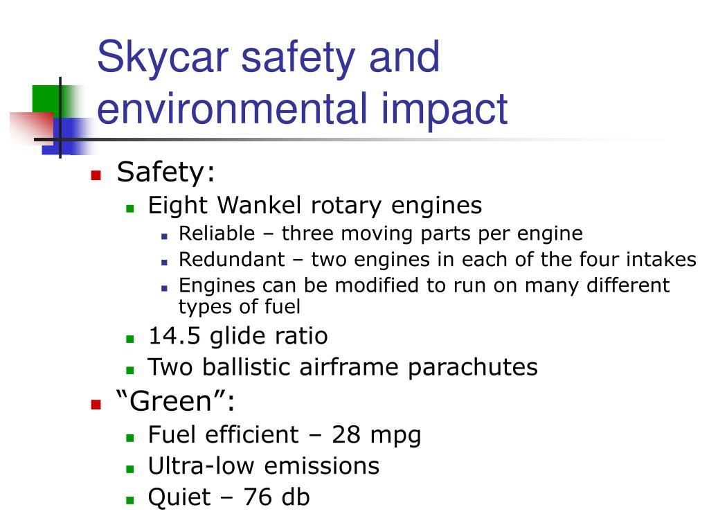 Skycar safety and environmental impact