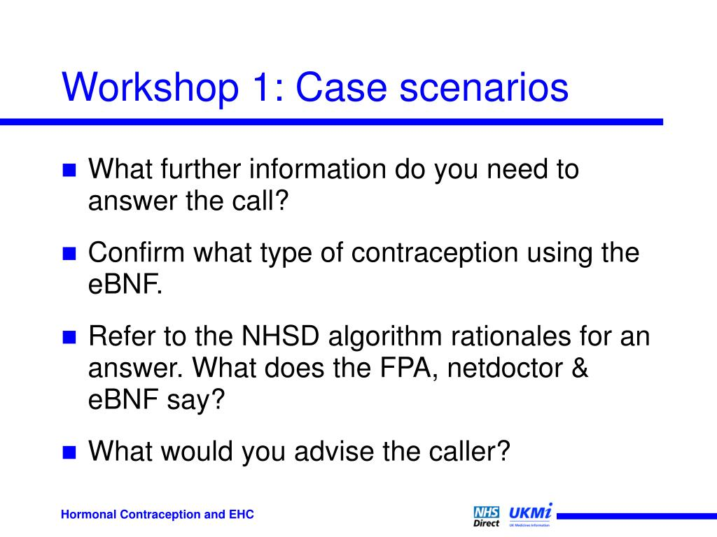 Workshop 1: Case scenarios