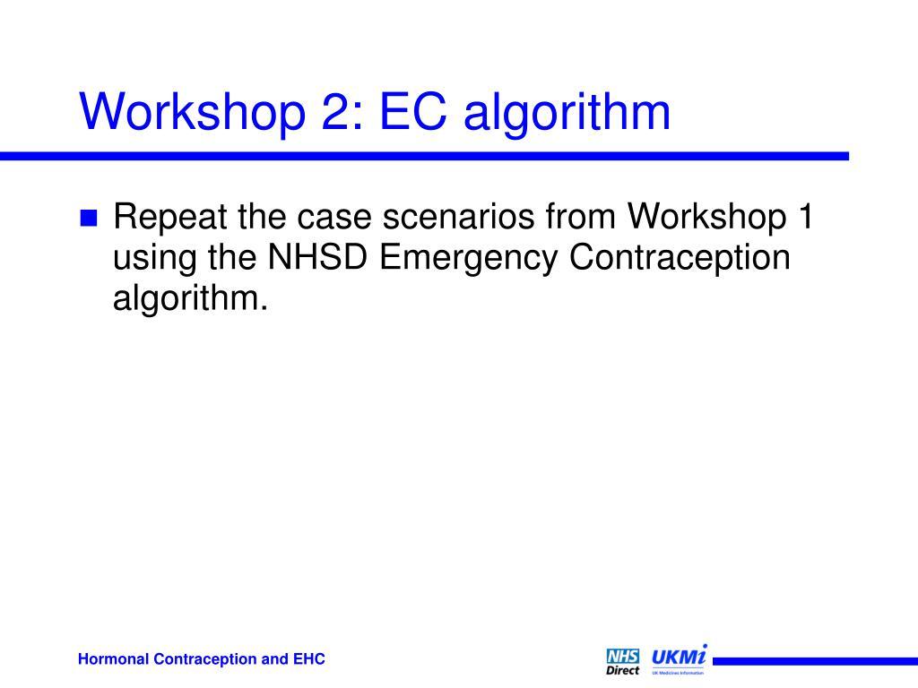 Workshop 2: EC algorithm