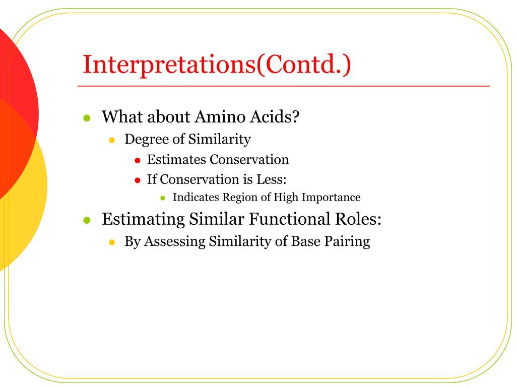 Interpretations(Contd.)