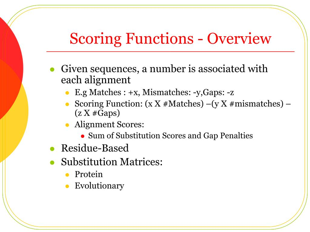 Scoring Functions - Overview