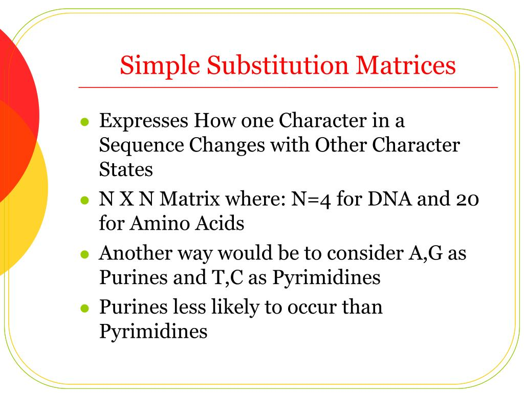 Simple Substitution Matrices