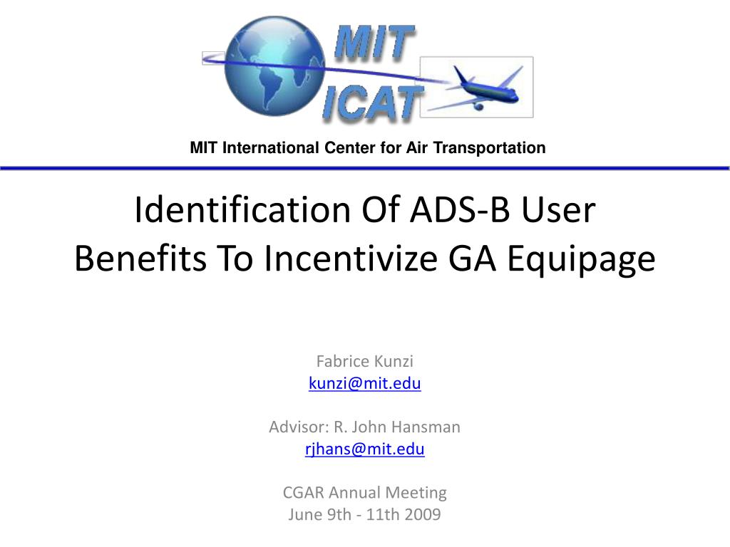 identification of ads b user benefits to incentivize ga equipage l.