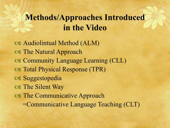 Methods approaches introduced in the video