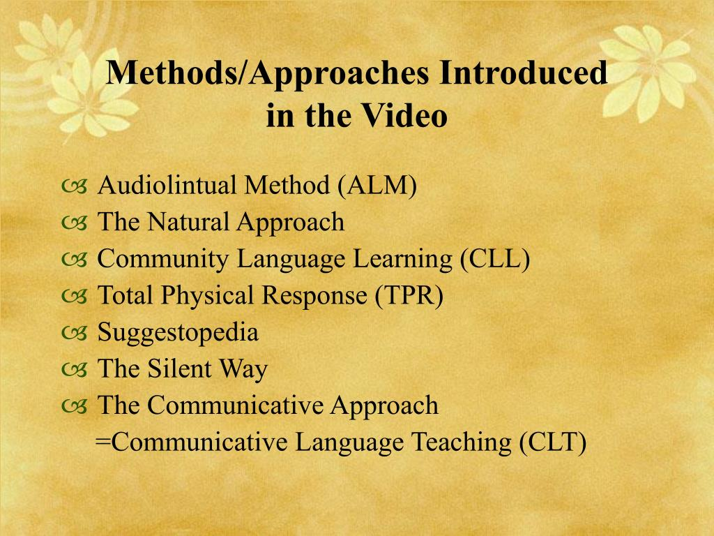 Methods/Approaches Introduced