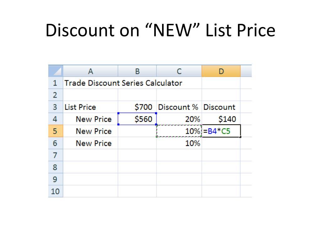 "Discount on ""NEW"" List Price"