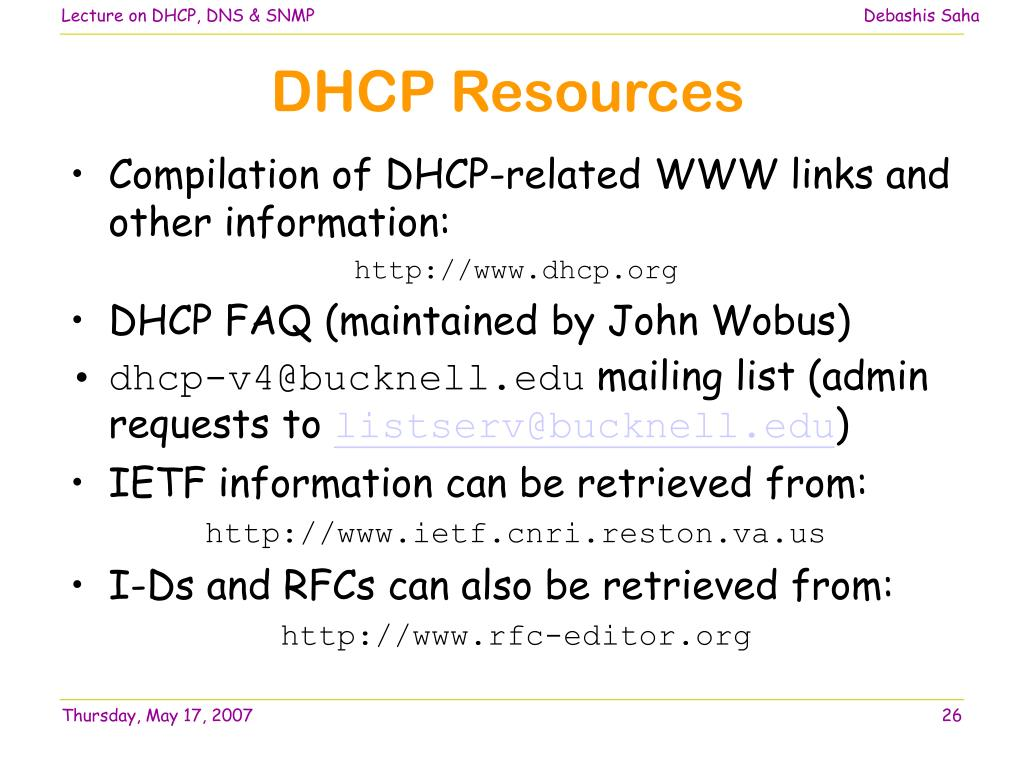 PPT - DHCP, DNS, SNMP PowerPoint Presentation - ID:439845