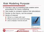 risk modeling purpose
