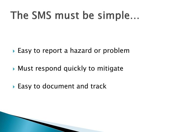The sms must be simple