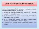 criminal offences by ministers