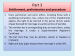 part 3 entitlement preliminaries and procedure