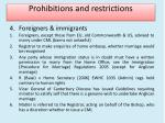 prohibitions and restrictions8
