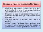residence rules for marriage after banns