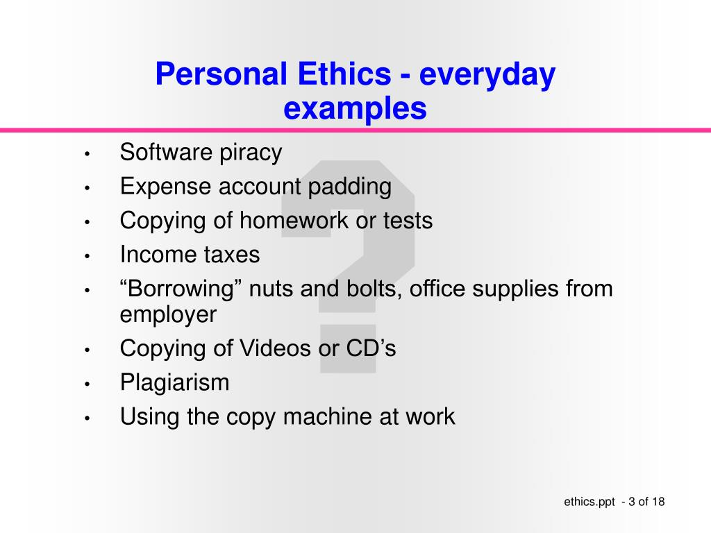 Personal Ethics - everyday examples