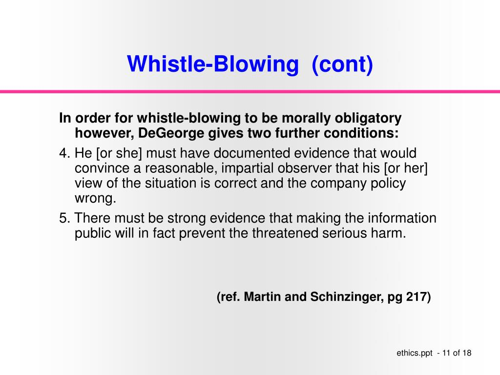 Whistle-Blowing  (cont)