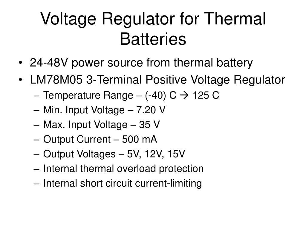 Voltage Regulator for Thermal Batteries
