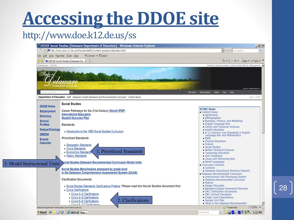Accessing the DDOE site