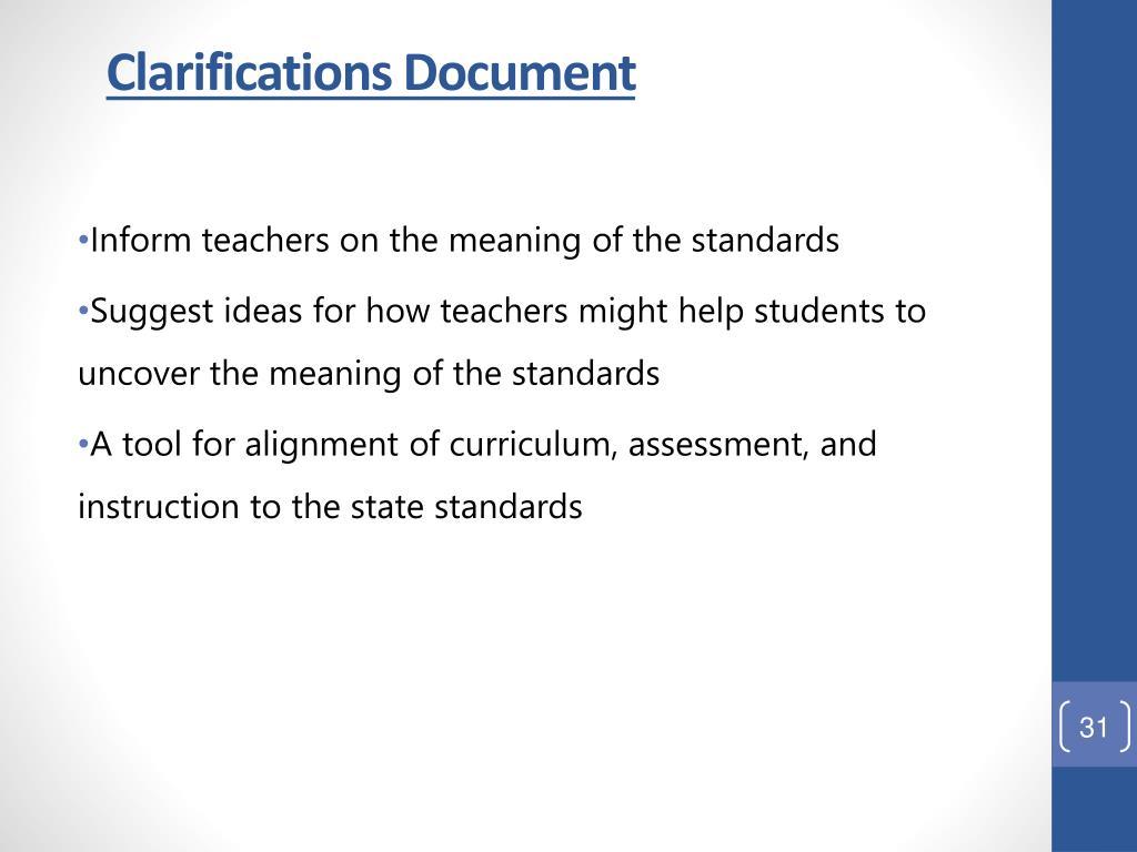 Clarifications Document