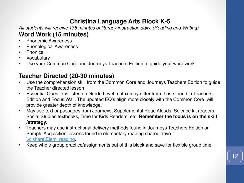 Christina Language Arts Block K-5