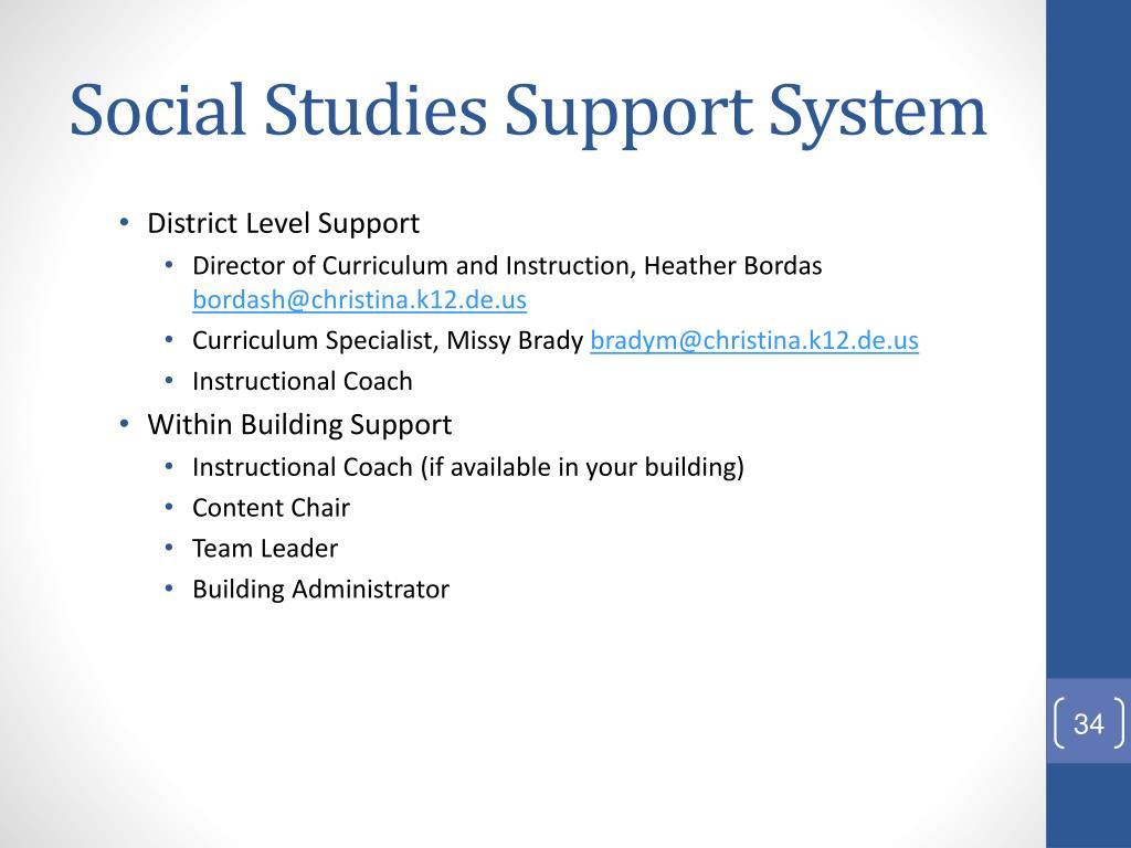 Social Studies Support System