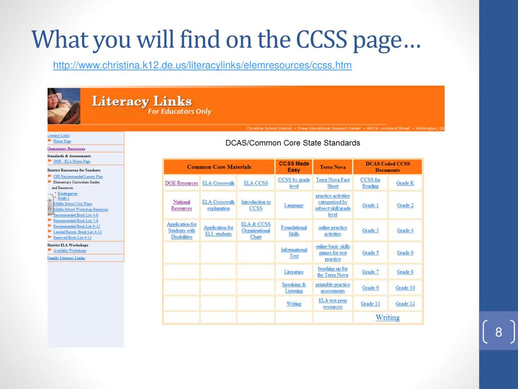 What you will find on the CCSS page…