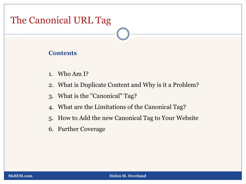 The Canonical URL Tag