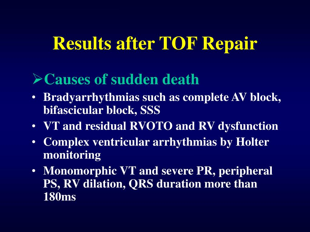 Results after TOF Repair