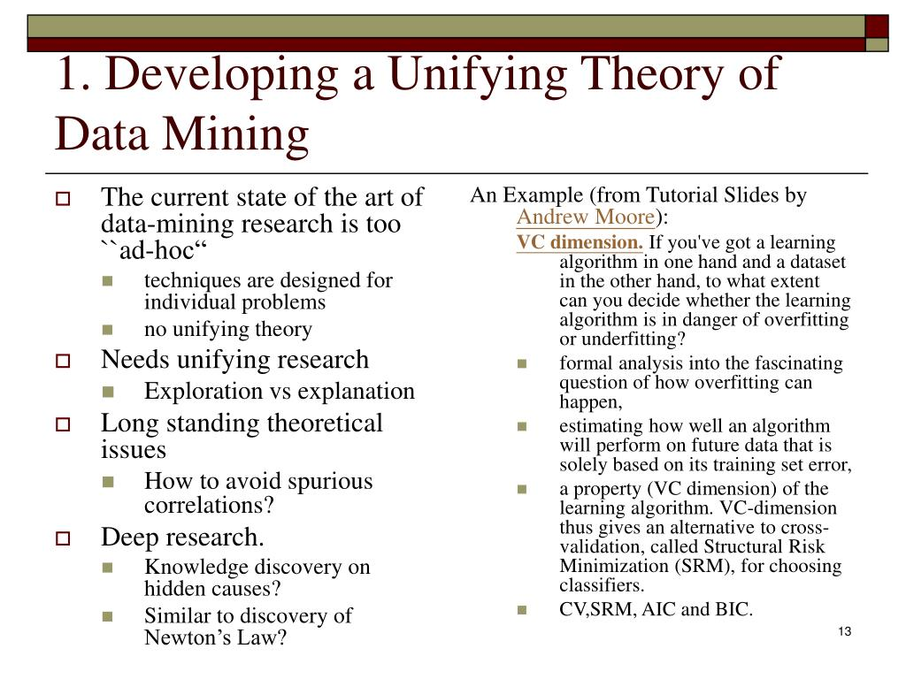 """The current state of the art of data-mining research is too ``ad-hoc"""""""