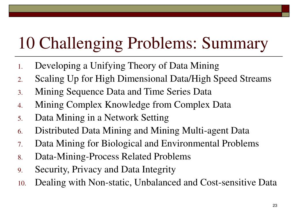 10 Challenging Problems: Summary