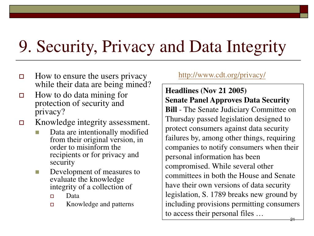 9. Security, Privacy and Data Integrity