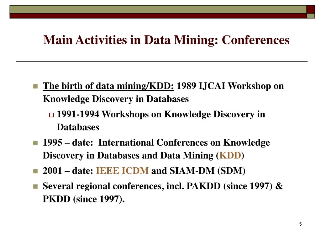 Main Activities in Data Mining: Conferences