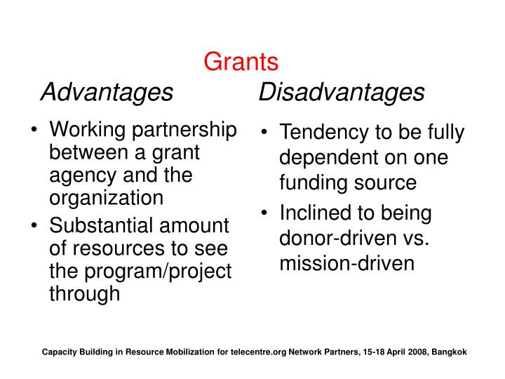 Working partnership between a grant agency and the organization