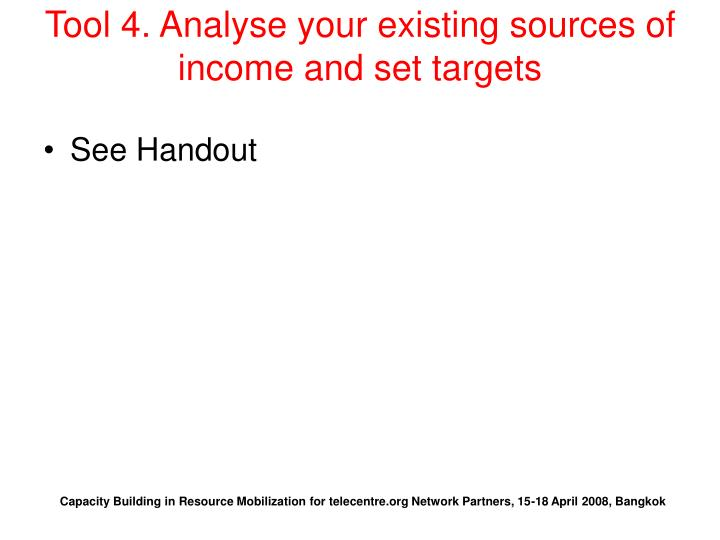 Tool 4. Analyse your existing sources of income and set targets