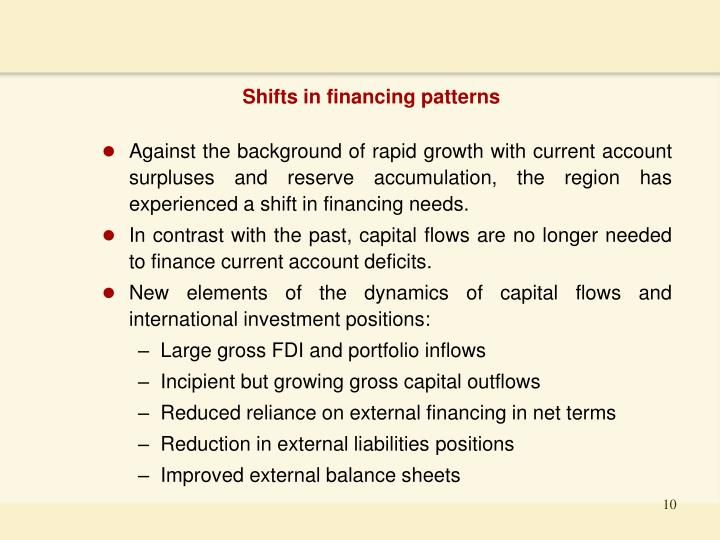 Shifts in financing patterns